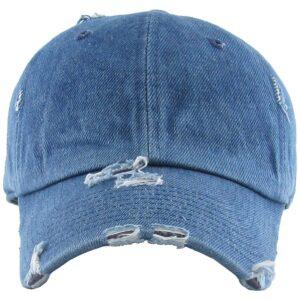 distressed denim cap