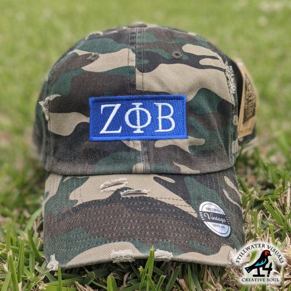 zeta phi beta camo cap hat distressed