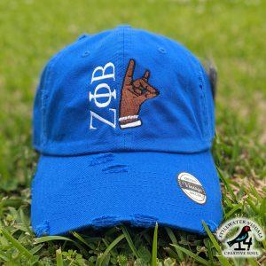 zeta phi beta distressed cap hat
